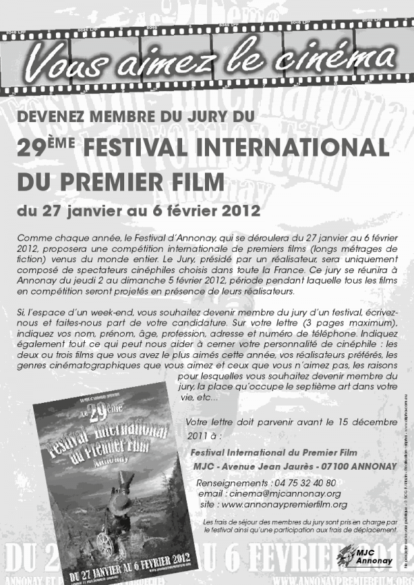 devenir jury du 29ème festival international du premier film d'a