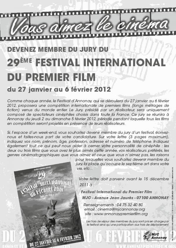 devenir jury du 29ème festival international du premier film d'a